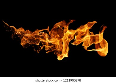 Fire flames isolated on black background.