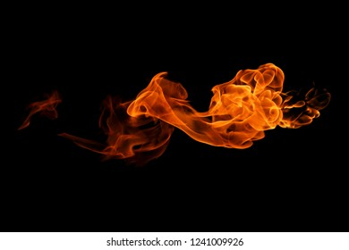 Fire flames isolated on black background. abstract background