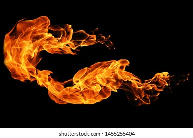 Fire flames isolated on black background, movement of fire flames abstract background