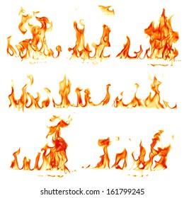 Brannflammer isolert på hvit bakgrunn
