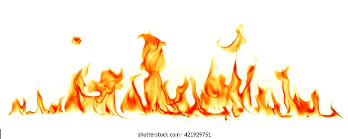 Fire flames isolated on white background