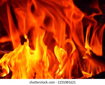 Fire flames on a black background, closeup of fireplace, explosion, energy, burn isolated