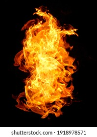 Fire flames on black background Heat abstract background