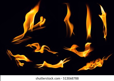 Fire flames on black background,Flames of Fire in a fireplace,fire flame,fire flame close up
