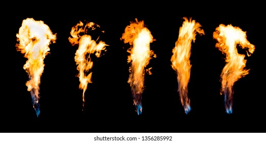 Fire flames on a black background,Motion blur