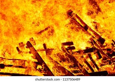 Fire flames on a bonfire. Fireman emergency. Danger combustion, emission