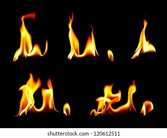 Fire and flames over black background