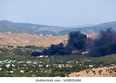Fire in forrest near city in Bodrum Turkey