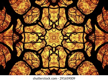 Fire in the Galician forest, artistic representation, kaleidoscopic , photographic art, artistic photography, Galcia, Spain, Europe,abstract art,mandala,decoration,Pyromaniacs
