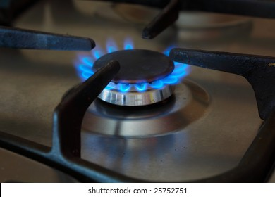 the fire of gas on the kitchen furnace