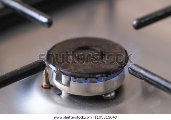 Fire of a gas stove close up