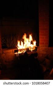 Fire in a gazebo closeup