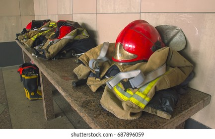 Fire Gear on the table at interior