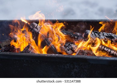 the fire in the grill
