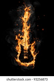 Fire guitar, isolated on white background