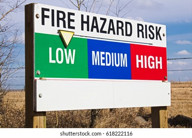 Fire hazard risk indicator sign.
