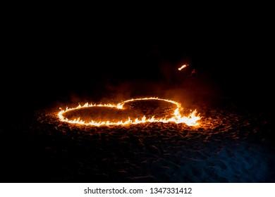 Fire Heart on the Beach
