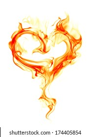 Fire heart on white background