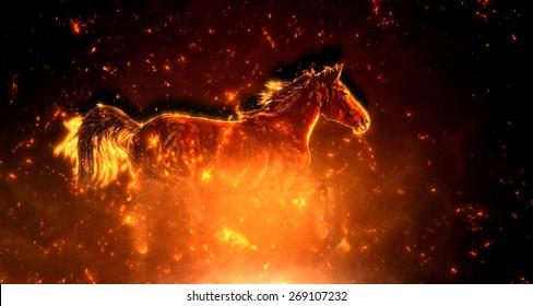 Fire horse runs gallop on the dark background