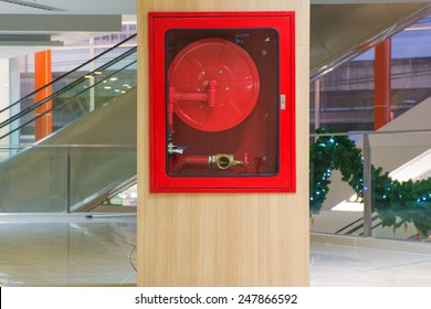 Fire hose cabinet in the mall.
