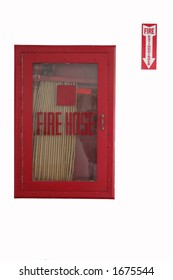 fire hose with sign to nothing
