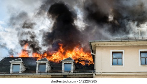 Fire in a house on the roof