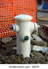Fire hydrant at a construction site