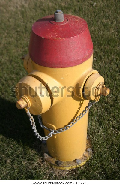A fire hydrant isolated on grass.  Yellow and red.