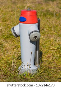 A fire hydrant painted in gray and red colors in grass.