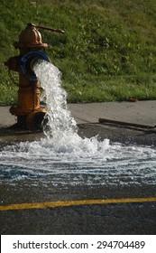 fire hydrant releasing water
