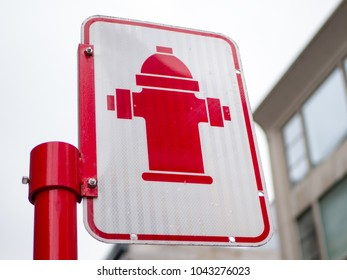 Fire hydrant sign on a street