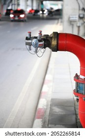Fire hydrant standpipes  or fireplug connection at high rise building for  feed water into system when emergency occurred. Concept of fire equipment, safety,  fire prevention.