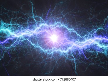 Fire and ice electrical lightning bolt, plasma and electric power background