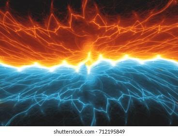 Fire and ice lightning, plasma background