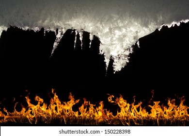 Fire and Ice over black background