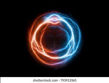 Fire and ice plasma swirl, abstract electrical lighning ball