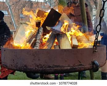 Fire in an iron pan