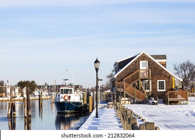 Fire Island ferry docked at Davis park in the winter. Long Island, New York.