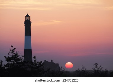 Fire Island Lighthouse in the Morning Sunrise
