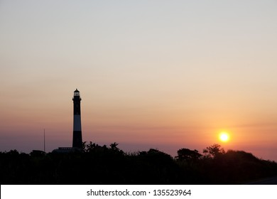 Fire Island Lighthouse at sunrise. Fire Island National Seashore Long Island, New York.