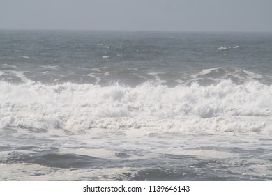 Fire Island, New York, USA - July 22, 2018: Rough Seas