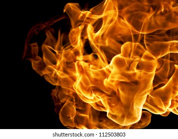 Fire isolated on a black background.