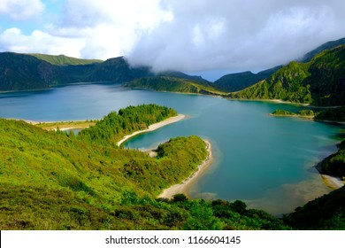 Fire Lagoon, Lagoa do Fogo, Volcano Crater with Lake, São Miguel Island, Azores, Portugal