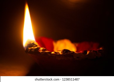 Fire in a Lamp on Karthigai Deepam