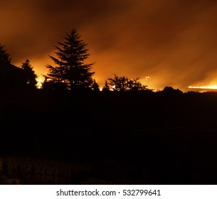 Fire landscape, backlighting,Backlight with fire in the background, incendio forestal en el Bierzo