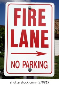 fire lane sign at college