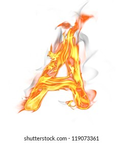 """Fire letter """"A"""" isolated on white background"""