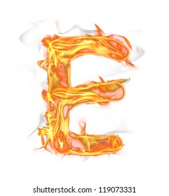 """Fire letter """"E"""" isolated on white background"""