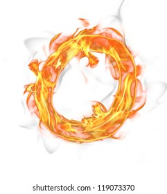 """Fire letter """"O"""" isolated on white background"""