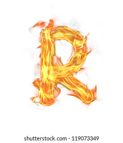 """Fire letter """"R"""" isolated on white background"""